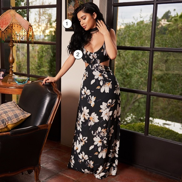 Open waist and back flowy floral maxi dress